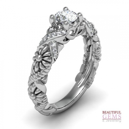 Engagement Ring with 0.57 Carats TDW in 18Ct White Gold - D43469-1