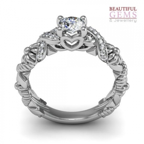 Engagement Ring with 0.57 Carats TDW in 18Ct White Gold - D43469-1 - B