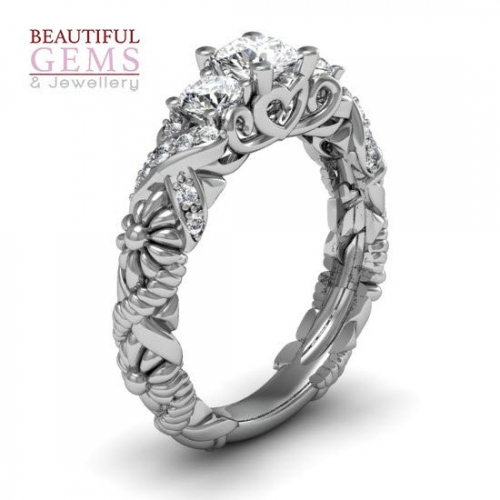 Engagement Ring with 0.88 Carats TDW in 18Ct White Gold - D43498-1