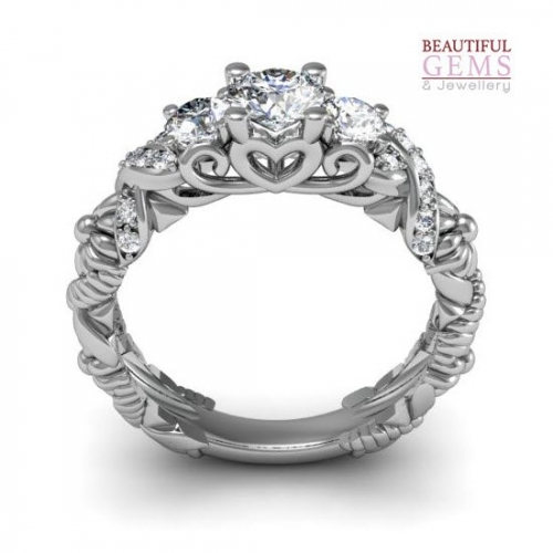 Engagement Ring with 0.88 Carats TDW in 18Ct White Gold - D43498-1 - B