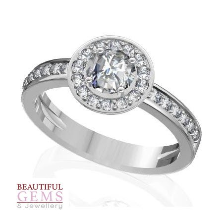 Engagement Ring with 0.76 Carats TDW in 18Ct White Gold - R16011-4