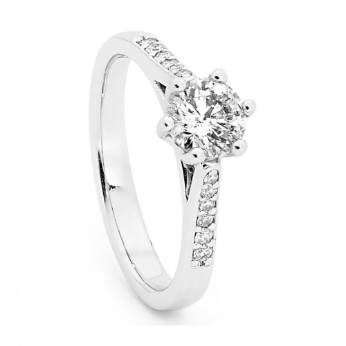 Solitaire Engagement Ring with a 0.75 Carat Centre (TDW TBA) Diamond in 18ct White – 183753032
