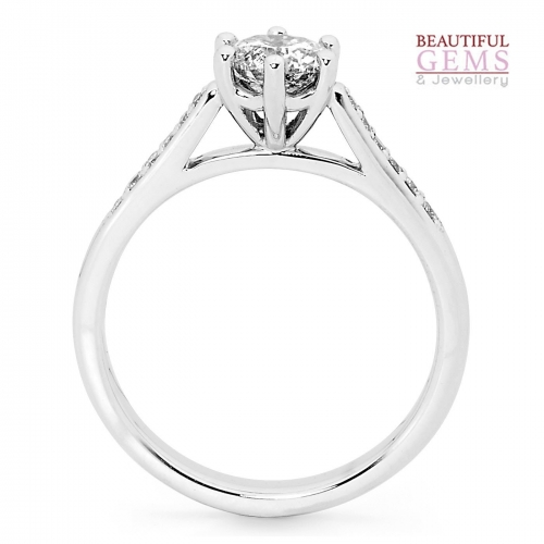 Solitaire Engagement Ring with a 0.75 Carat Centre (TDW TBA) Diamond in 18ct White – 183753032 - B