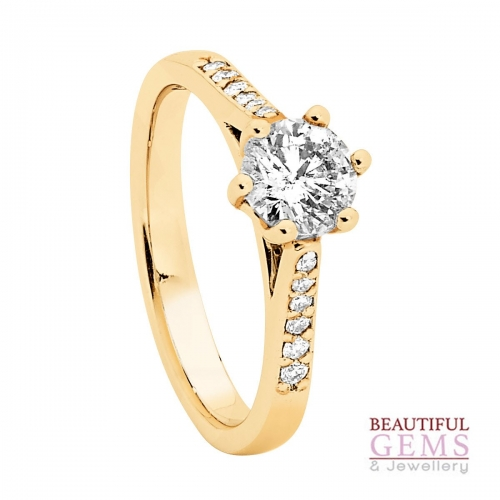 Solitaire Engagement Ring with a 0.75 Carat Centre (TDW TBA) Diamond in 18ct Yellow – 184753032