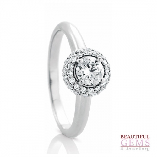 Halo Solitaire Engagement Ring with a .40 Carat centre (TW TBA) Diamond in 18ct White - 183383043