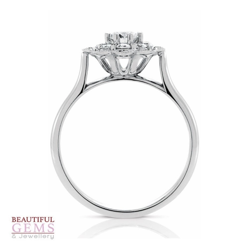 Halo Solitaire Engagement Ring with a 0.30 Carat centre (TW TBA) Diamond in 18ct White - 183293042 - B