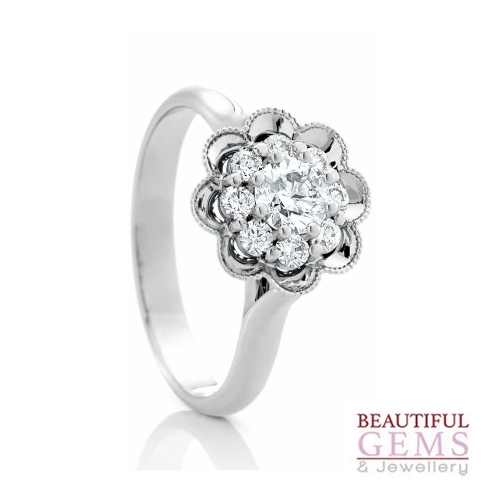 Halo Solitaire Engagement Ring with a 0.30 Carat centre (TW TBA) Diamond in 18ct White - 183293042
