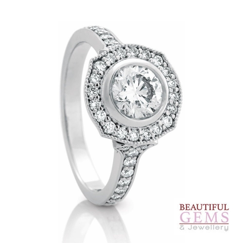 Halo Solitaire Engagement Ring with a 0.50 Carat centre (TW TBA) Diamond in 18ct White - 183493046