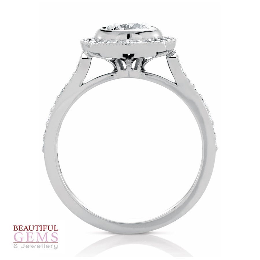Halo Solitaire Engagement Ring with a 1.00 Carat centre (TW TBA) Diamond in 18ct White - 183953046 - B