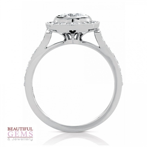 Halo Solitaire Engagement Ring with a 0.50 Carat centre (TW TBA) Diamond in 18ct White - 183493046 - B