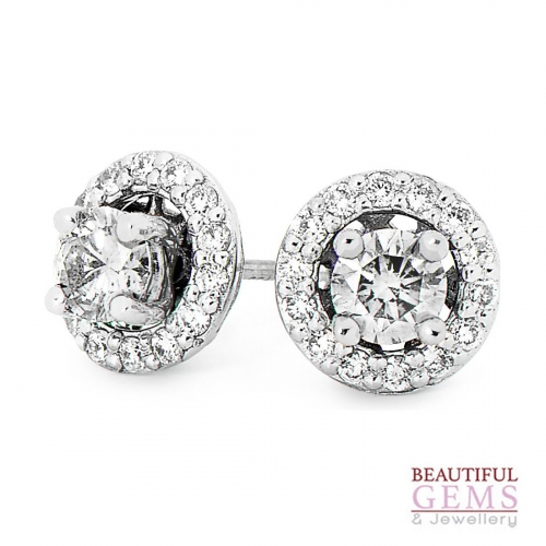 Stud Earrings with a total of 0.75 Carats of Diamonds in 18ct White Gold - 183755005