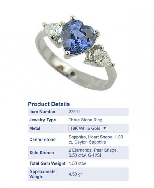 Heart sapphire & diamond ring -27511