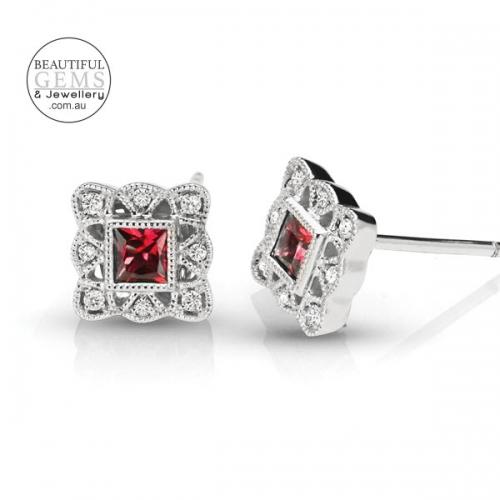 Ruby Stud Earrings with Diamonds 0945002-2