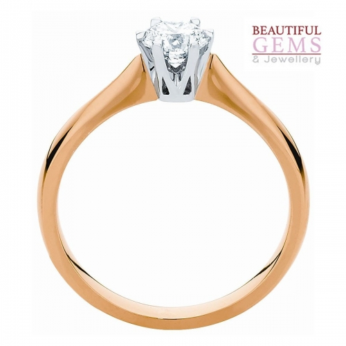 Traditional Solitaire Engagement Ring with a 0.75 Carat TW Diamonds in 18ct Yellow and White Gold – 184753019