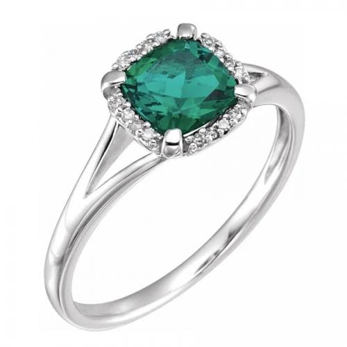 Green Sapphire Diamond Ring White Gold