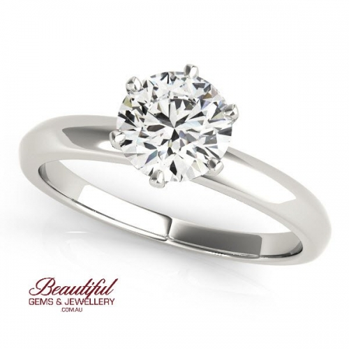 Solitaire Engagement Ring 1/2 Carat Diamond - 18383960-w