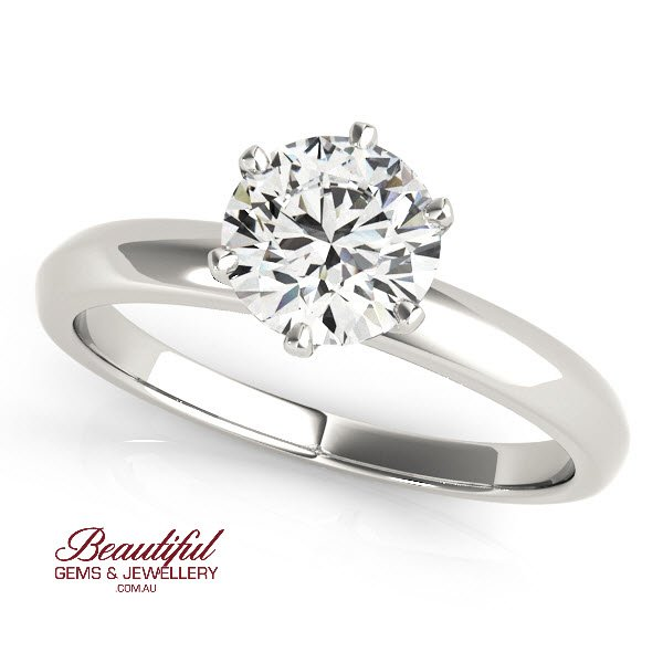 Solitaire Engagement Ring With A 1 2 Carat Diamond In 18ct White Gold 18383960 W Beautiful Gems Jewellery