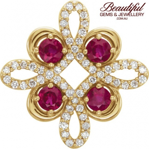 Pendant Ruby Diamonds 14ct Yellow Gold