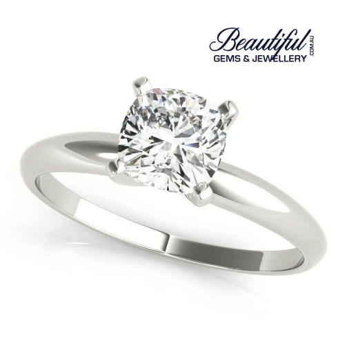 1ct Diamond Cushion Solitaire Ring in White Gold_a