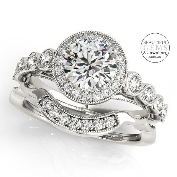 Bridal Set Halo Round Diamonds