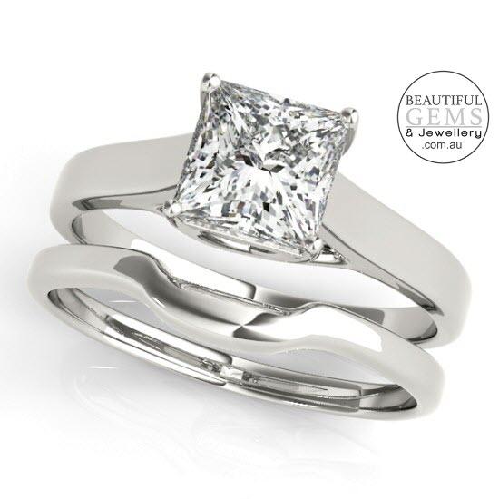 Princess Cut Diamond Engagement Ring 18ct White Gold-183OJ82652-3