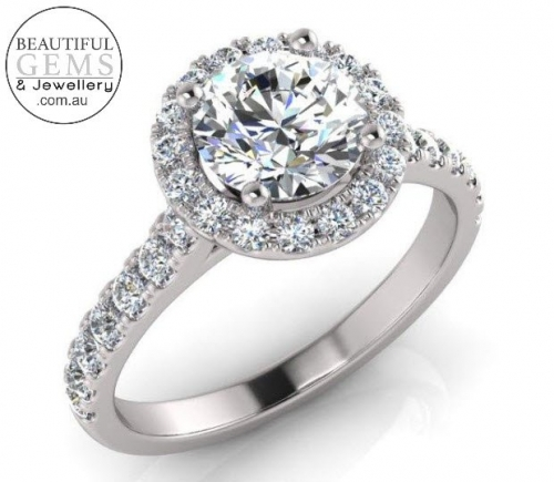 1.34 Carat Round Brilliant Engagement Ring 18ct White Gold-183OJ0415-a