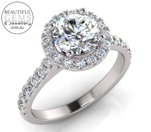 1.34 Carat Round Brilliant Engagement Ring 18ct White Gold-183OJ0415-a