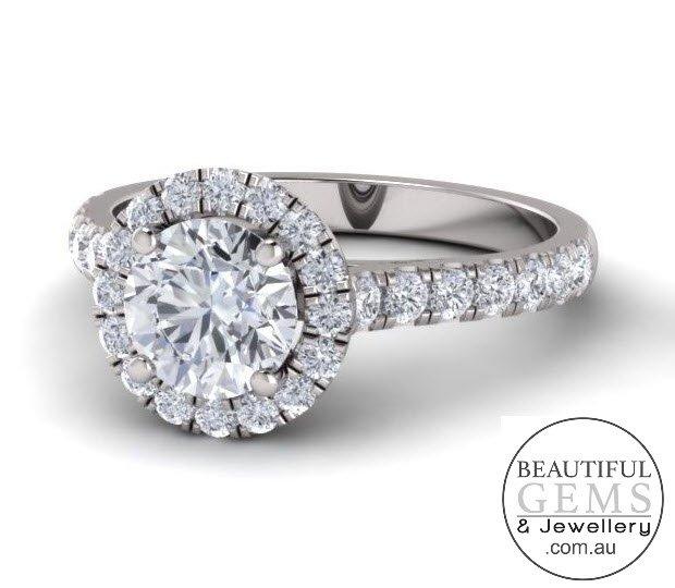 1.34 Carat Round Brilliant Engagement Ring 18ct White Gold-183OJ0415-c