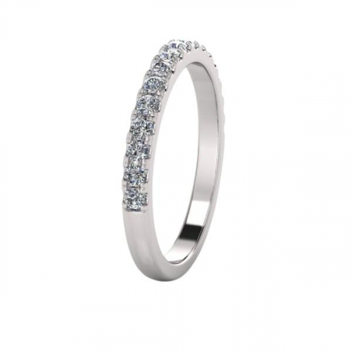 18ct White Gold Scalloped Set Half Eternity Wedding Ring