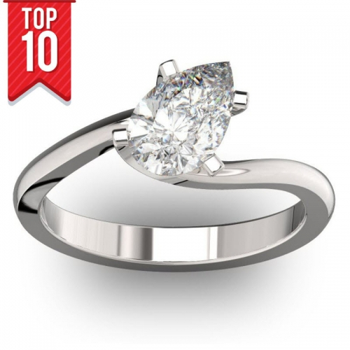 1ct diamond pear engagement ring GIA Certified
