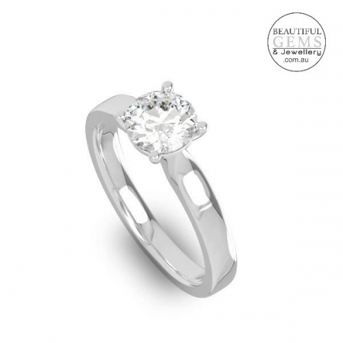 Natural White Sapphire Engagement Ring-1c
