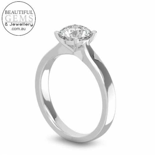Natural White Sapphire Engagement Ring-1