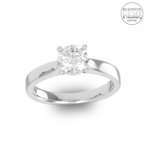 Natural White Sapphire Engagement Ring-2