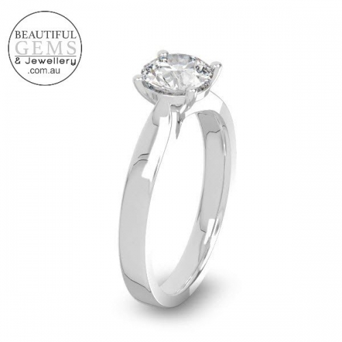 Natural White Sapphire Engagement Ring-4