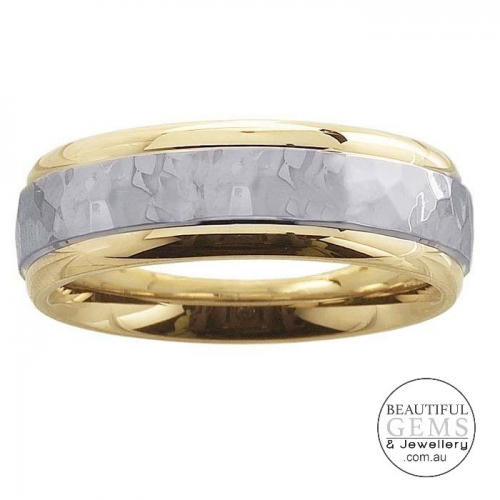 Men's Wedding Band 14ct White & Yellow Gold 6mm - JEPRG62361910-WY