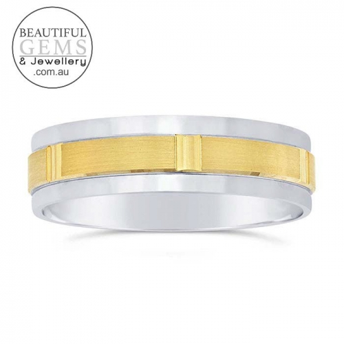 Men's Wedding Band 14ct White & Yellow Gold 5.8mm -JEPRG6791887-M