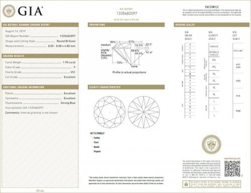 Triple EXCELLENT GIA Certified 1.90 Carat Diamond F-Colour VS1-Clarity-183JG2097