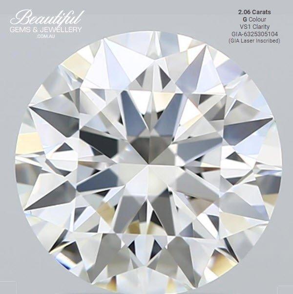 Triple EXCELLENT GIA Certified 2.06 Carat Diamond G-Colour VS1-Clarity-183JG5104