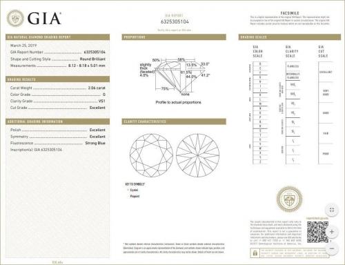 Triple EXCELLENT GIA Certified 2.06 Carat Diamond G-Colour VS1-Clarity-183JG5104-B