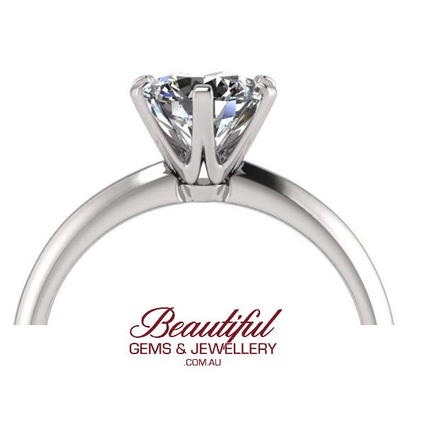 Tiffany' style 1.3ct Solitaire Diamond Ring 18ct White Gold