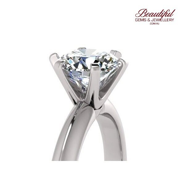 Sydney Tiffany' style 1.3ct Solitaire Diamond Ring 18ct White Gold