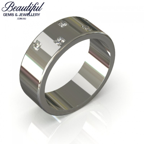 8mm Mens Gold Wedding Ring with Diamonds_a