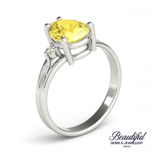 Yellow Sapphire 18ct White Gold Ring_2