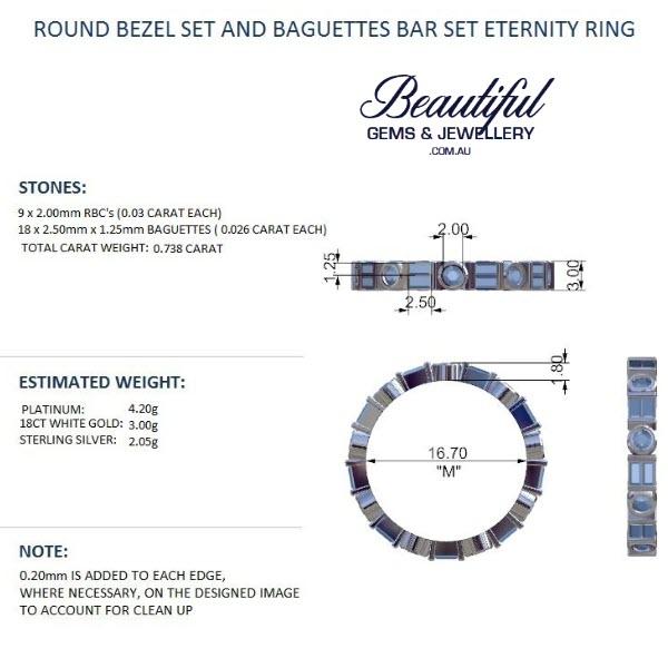 Round Bezel Set And Baguettes Bar Set Eternity Ring