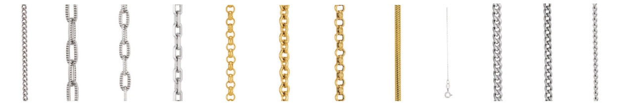 Chains in gold platinum silver and diamonds