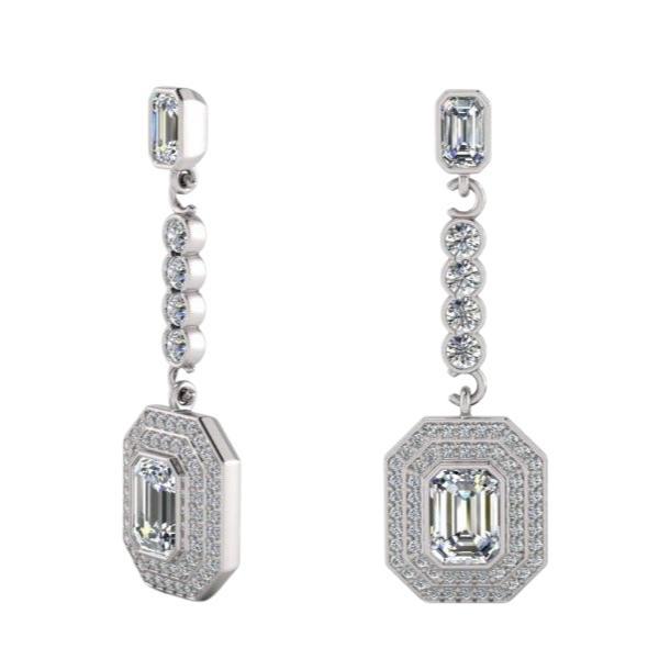Drop Earrings 1.7ct of Diamonds with 1ct Emerald Cut Diamond_a