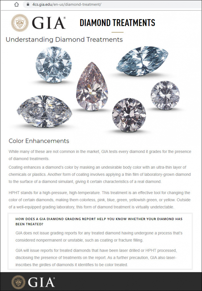 GIA HPHT Colour Explanation