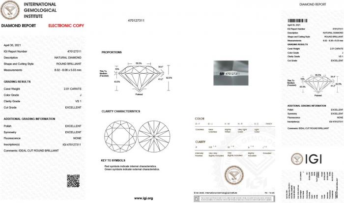 2ct RBC Colour=J Clarity=VS1 Diamond Triple-EX
