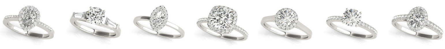 Moissanite and Diamond Rings set in Platinum and Gold