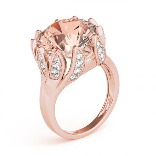 Morganite Diamond Ring Rose Gold